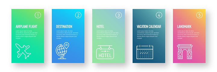 Tourism and Travel Infographic Design Template with Icons and 5 Options or Steps for Process diagram, Presentations, Workflow Layout, Banner, Flowchart, Infographic.