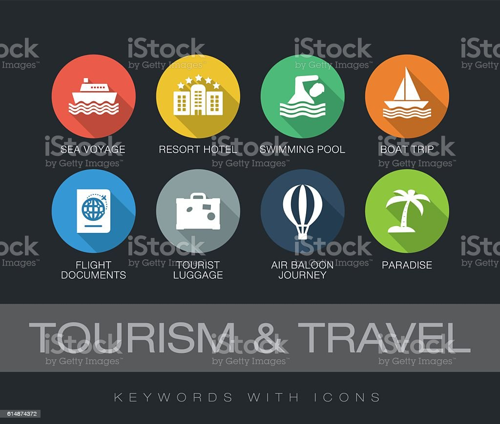 Tourism and Travel keywords with icons vector art illustration