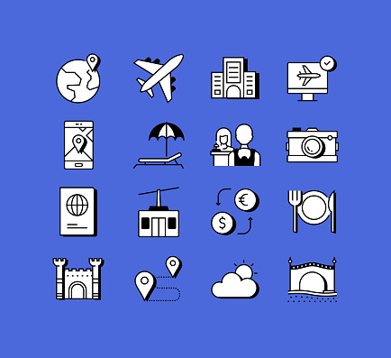 Tourism and Travel Related Icons Vector Collection. Modern Style Symbol Vector Illustration