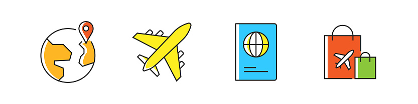 Tourism and Travel Related Vector Line Icons. Outline Symbol Collection