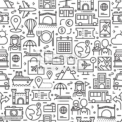 Tourism and Travel Seamless Pattern and Background with Line Icons