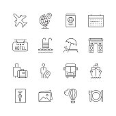 Tourism and Travel - Set of Thin Line Vector Icons