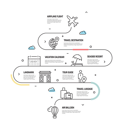 Tourism and Travel Vector Concept and Infographic Design Elements in Linear Style