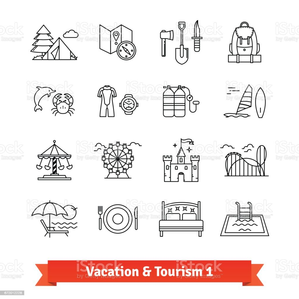 Tourism and vacation recovery. Thin line icons set vector art illustration