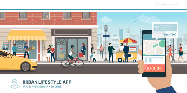 ilustrações de stock, clip art, desenhos animados e ícones de tourism app, navigation and global connections - carro na rua