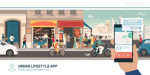 Tourism app, navigation and global connections Tourism app, navigation and global connections: tourist traveling to India and using maps on his smartphone to find locations urban road stock illustrations