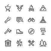 16 line black on white icons / Set #55 / Tourism & Camping / Pixel Perfect Principle - all the icons are designed in 48x48pх square, outline stroke 2px.  First row of outline icons contains:  Barbecue Grill, Deer, Bonfire, Mountain Peak;  Second row contains:  Flashlight, Vehicle Trailer, Binoculars, Tent;  Third row contains:  Axe icon, Shoe, Navigational Compass, Directional Sign;   Fourth row contains:  Camping Backpack, Hiking tourist, Crossed Spatula and Kitchen Fork, Pine Forest.  Complete Inlinico collection - https://www.istockphoto.com/collaboration/boards/2MS6Qck-_UuiVTh288h3fQ