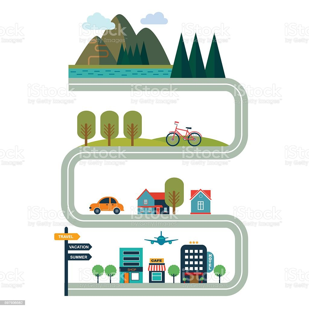 Tourism concept flat style vector illustration with road vector art illustration