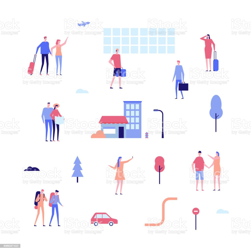 Tourism - flat design style set of isolated elements vector art illustration
