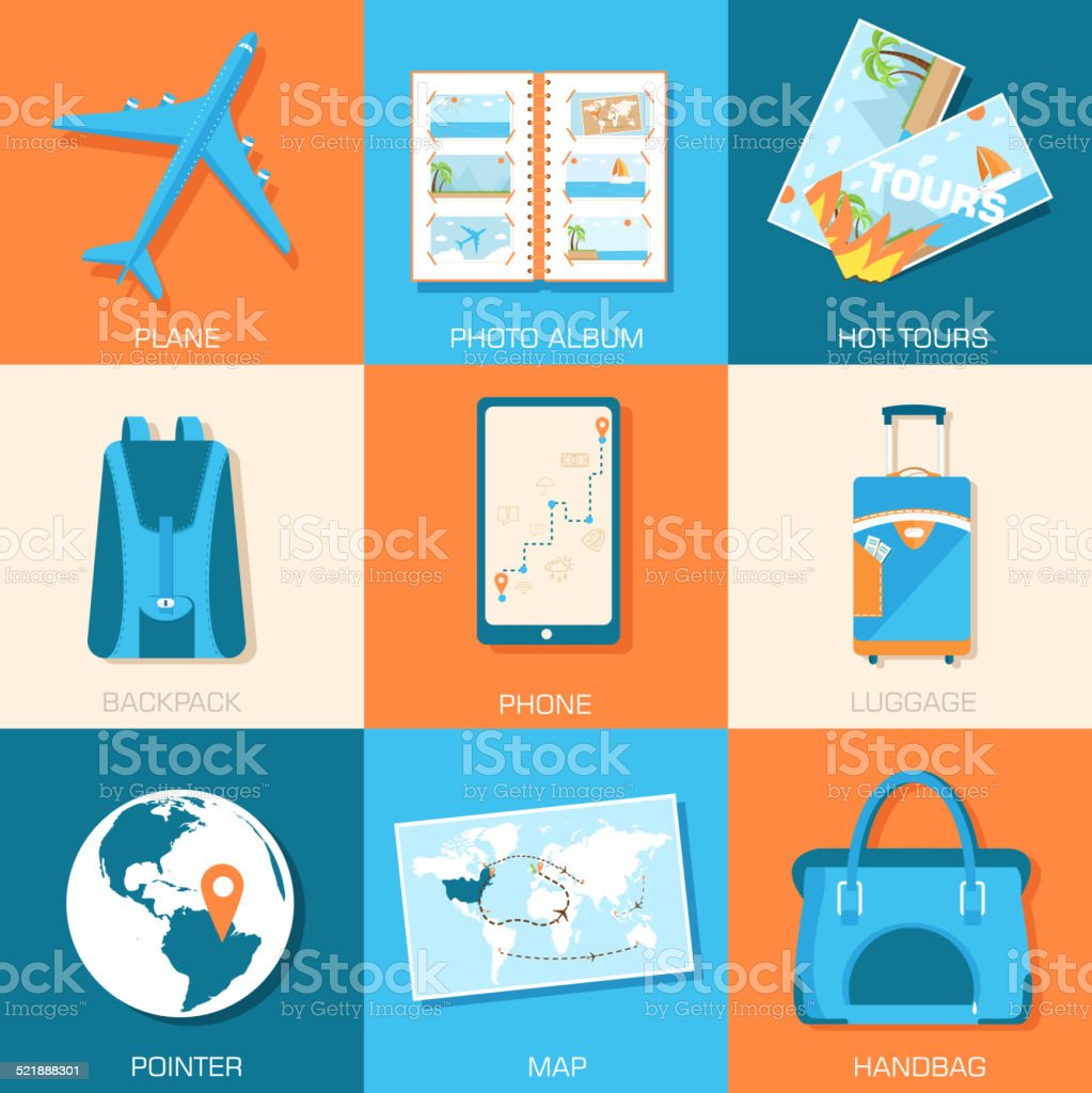 tourism icons set. Tourism with fast travel on a flat vector art illustration