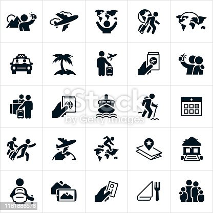 A set of tourism icons. The icons include an airplane, a tourist pulling luggage, a tourist taking pictures, a tourist taking a selfie, a taxi ride, beach, airplane ticket, visa, hotel check-in, cruise ship, a tourist hiking, calendar, a globe, the continents of the world, map, tropical resort, credit card, dining and a family to name just a few.