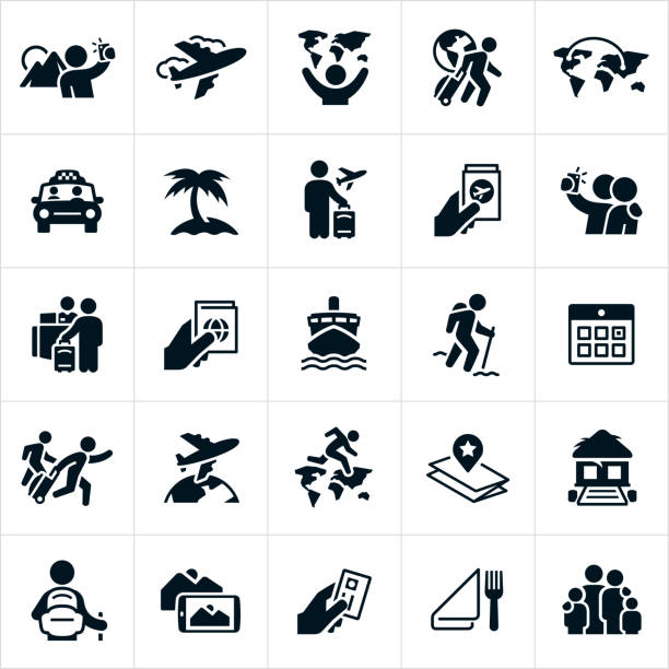 Tourism Icons A set of tourism icons. The icons include an airplane, a tourist pulling luggage, a tourist taking pictures, a tourist taking a selfie, a taxi ride, beach, airplane ticket, visa, hotel check-in, cruise ship, a tourist hiking, calendar, a globe, the continents of the world, map, tropical resort, credit card, dining and a family to name just a few. tourism stock illustrations
