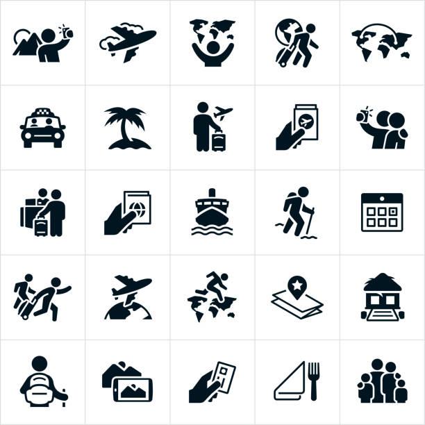 ilustraciones, imágenes clip art, dibujos animados e iconos de stock de iconos turísticos - vacaciones familiares