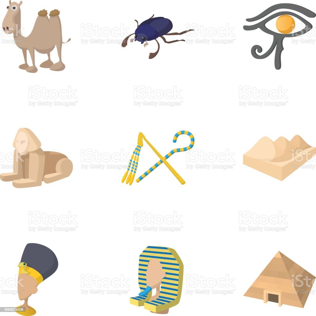 Tourism in Egypt icons set, cartoon style vector art illustration