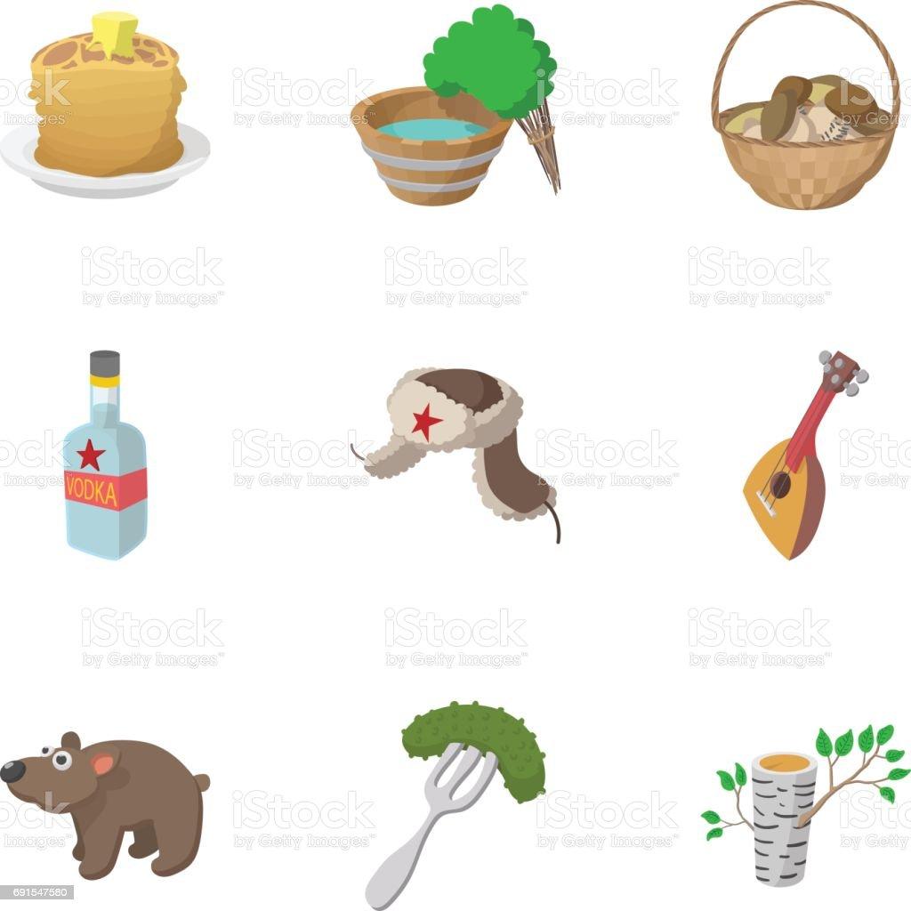 Tourisme en Russie icônes ensemble, style cartoon - Illustration vectorielle