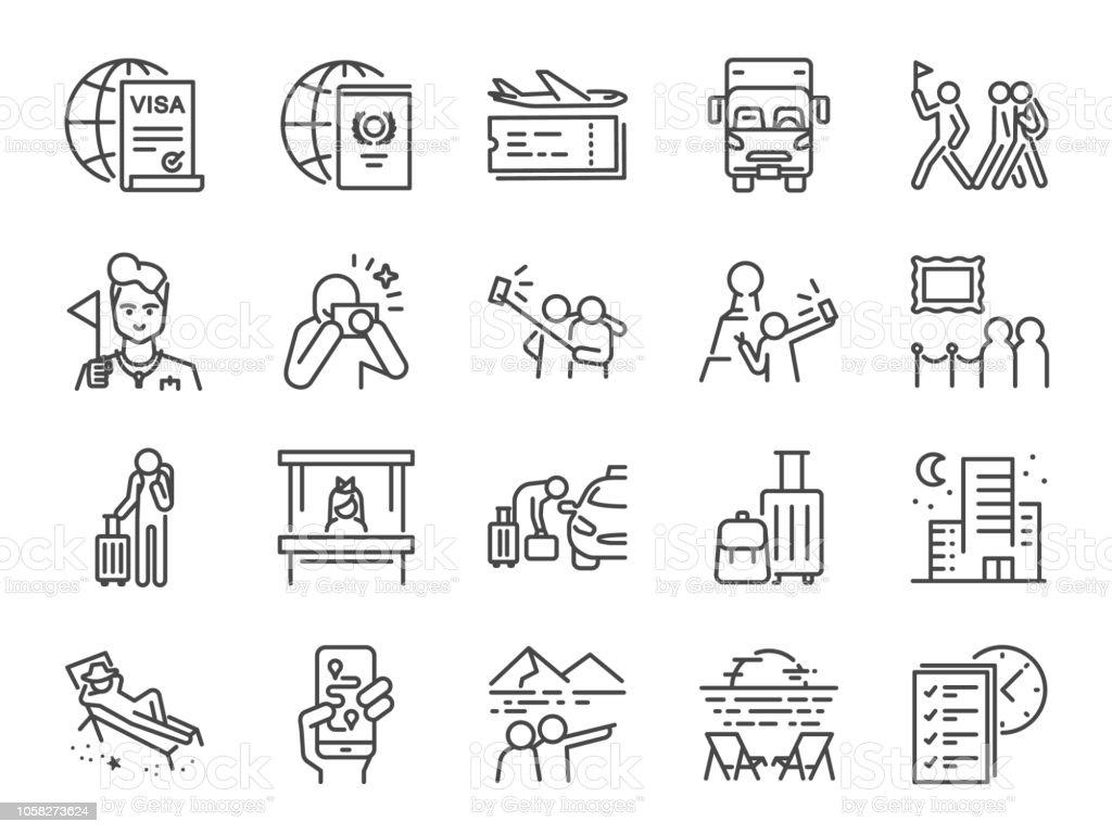 Conjunto de iconos de la línea de turismo. Incluye iconos como turístico, guía, viajero, vacaciones y mucho más. ilustración de conjunto de iconos de la línea de turismo incluye iconos como turístico guía viajero vacaciones y mucho más y más vectores libres de derechos de agencia de viajes libre de derechos