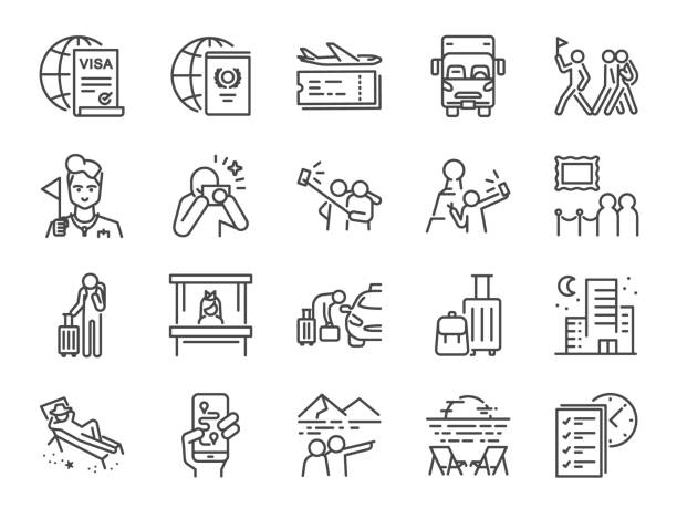 Tourism line icon set. Included icons as tourist, guide, traveler, vacation and more. Tourism line icon set. Included icons as tourist, guide, traveler, vacation and more. airplane symbols stock illustrations