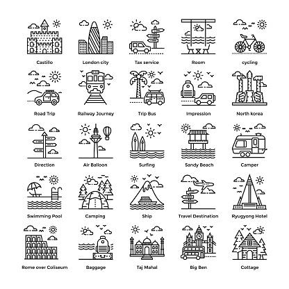 Tourism Line Icons Set