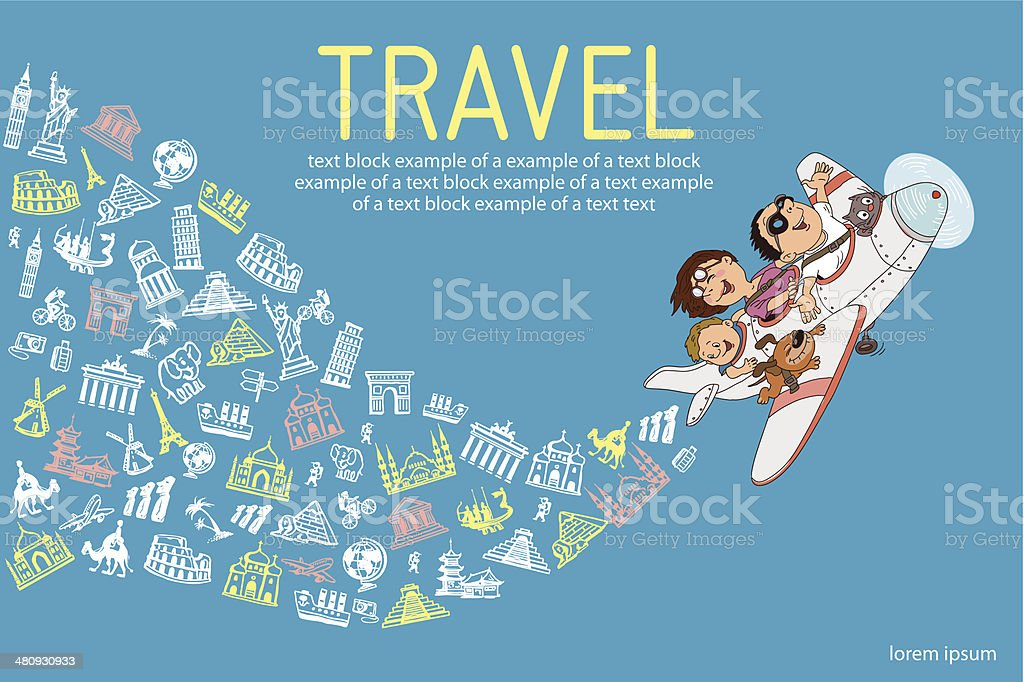 tourism plane vector art illustration