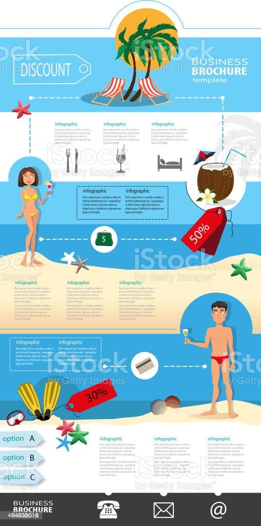 Tourism, recreation, travel brochure vector art illustration