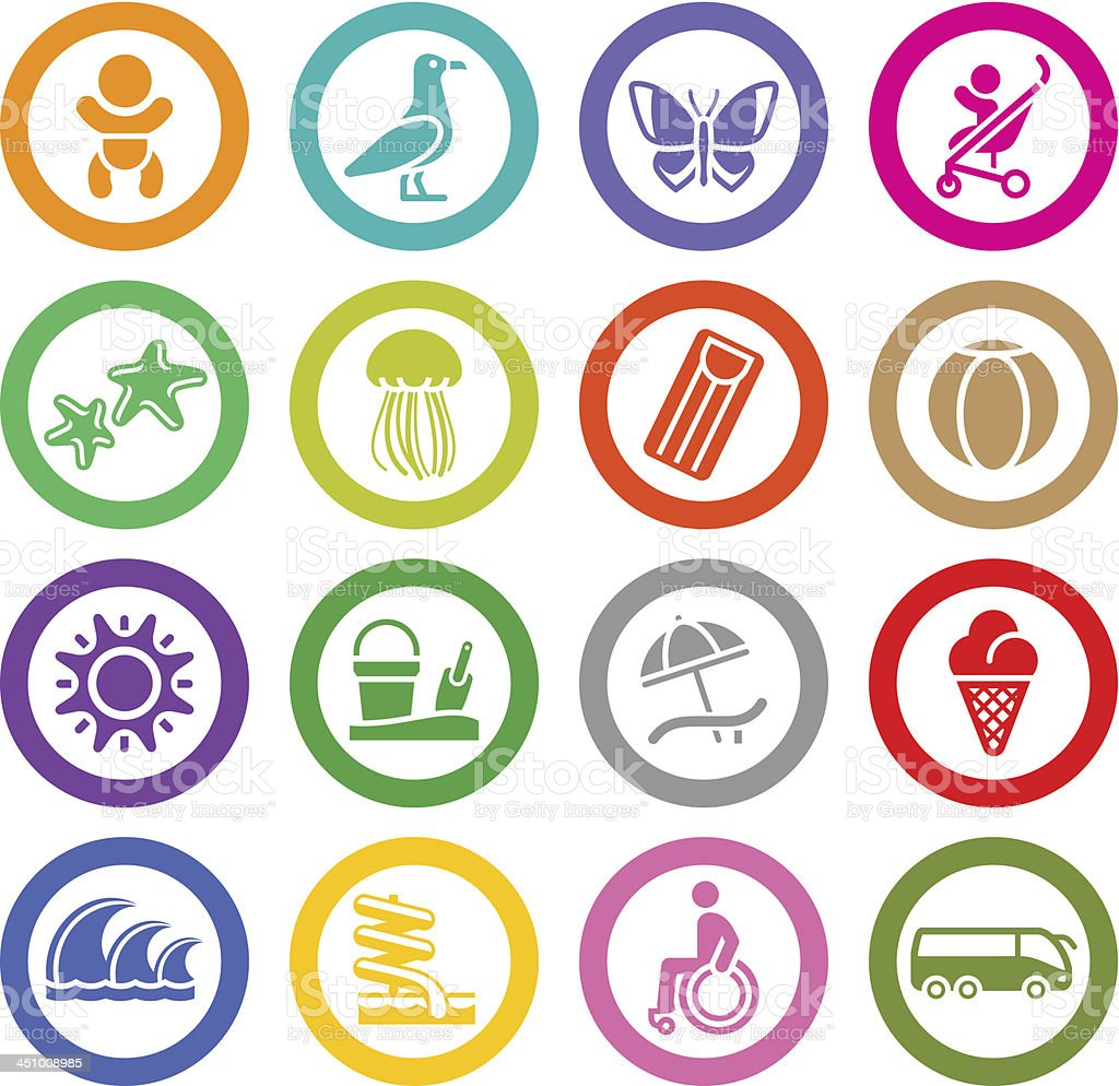 Tourism, Recreation & Vacation, icons set. royalty-free stock vector art