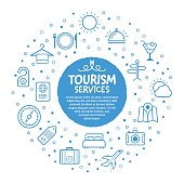 Vector line illustration of travel and tourism services concept.