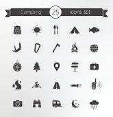 Tourism, travel silhouettes icons set
