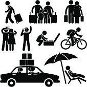 A set of pictograms representing family, couple, and individuals going for a vacation.