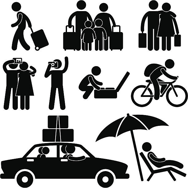 tourist and vacation trip pictogram - family trips stock illustrations
