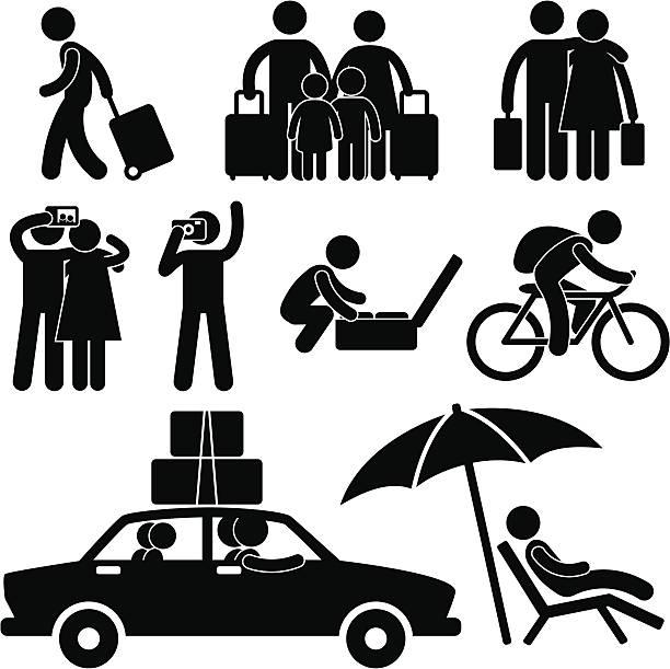 illustrations, cliparts, dessins animés et icônes de tourisme et vacances voyage pictogram - vacances en famille