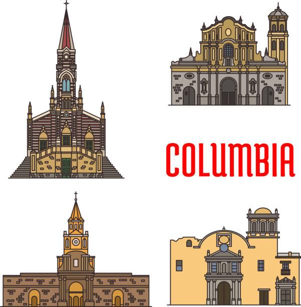 tourist architecture landmarks of colombia - cartagena stock-grafiken, -clipart, -cartoons und -symbole