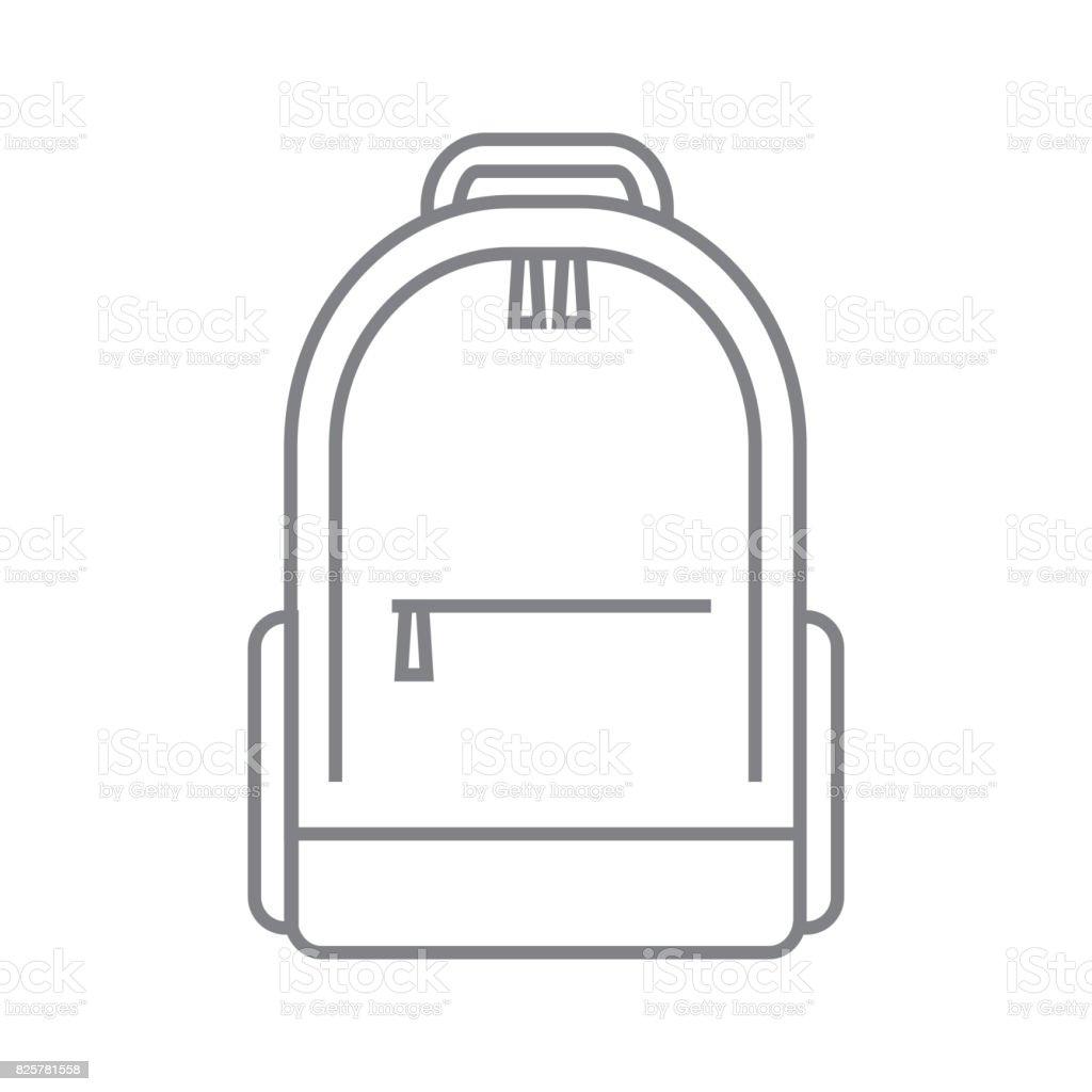 Tourist backpack or hike bags, knapsacks linear icon. Vector illustration, flat design. vector art illustration