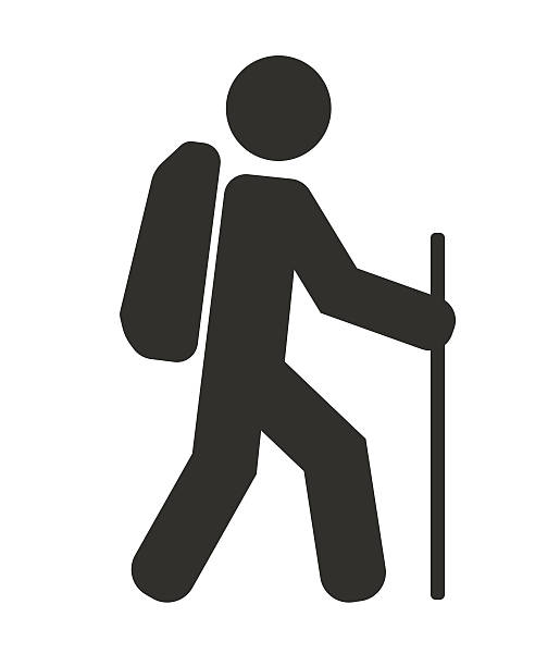 tourist backpacker icon tourist backpacker black icon hiking stock illustrations