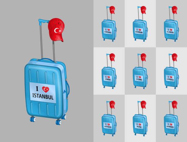 touristischen gepäck für reisen nach türkei touristischen städte mit türkischen kappe - alanya stock-grafiken, -clipart, -cartoons und -symbole