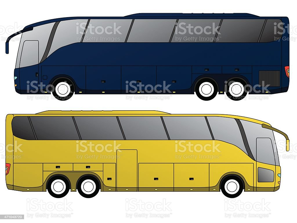 Tourist bus design with double axle vector art illustration
