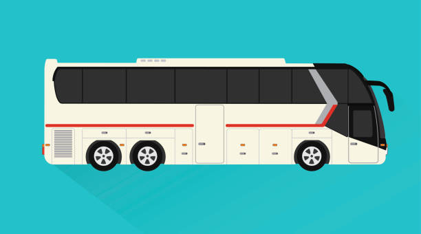 touristik-bus, personenbeförderung design flachen stil - tour bus stock-grafiken, -clipart, -cartoons und -symbole