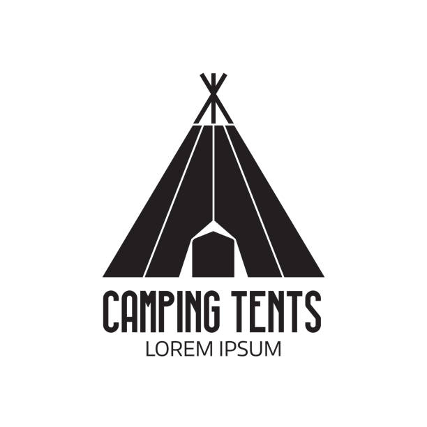 Tourist Camp Label or Tent Icon Camping place label template. Outline tepee icon. Hiking and camping tent emblem. teepee stock illustrations