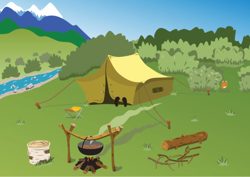 Tourist camp on the mountain river bank