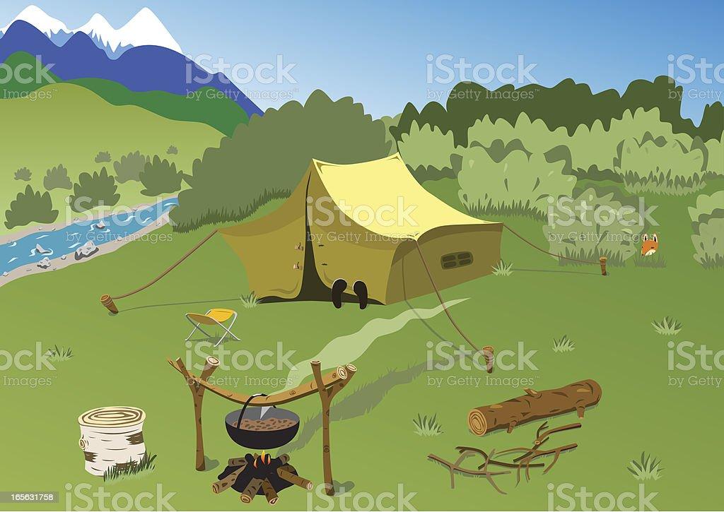 Touristes camp sur la montagne de la rivière - Illustration vectorielle