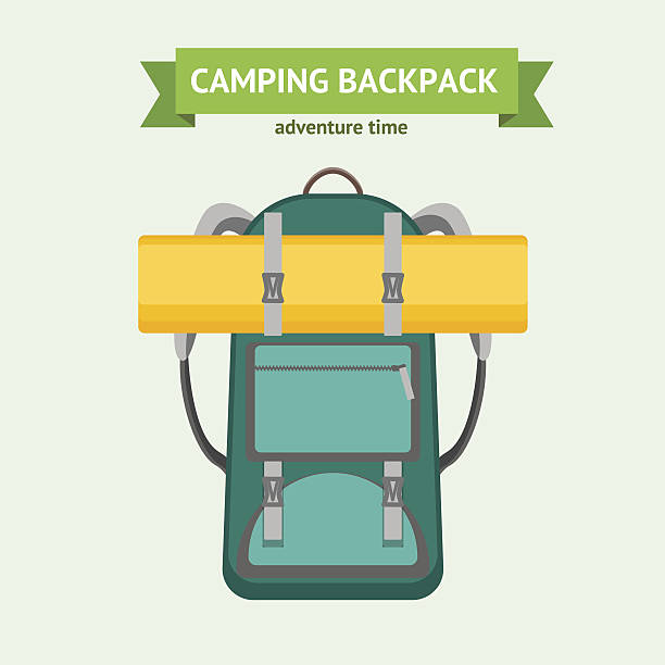 tourist camping backpack card. vector - wandermode stock-grafiken, -clipart, -cartoons und -symbole