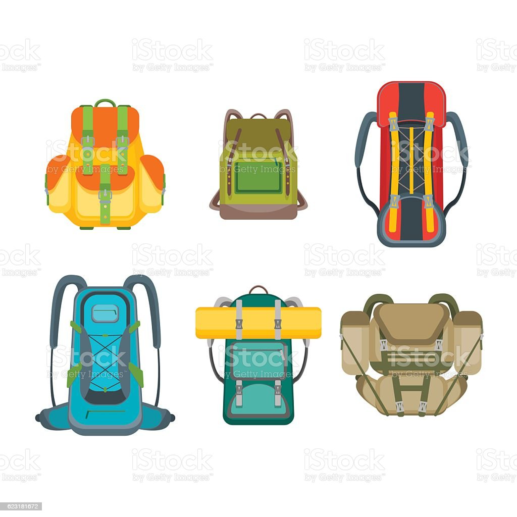 Tourist Camping Backpack Set. Vector​​vectorkunst illustratie