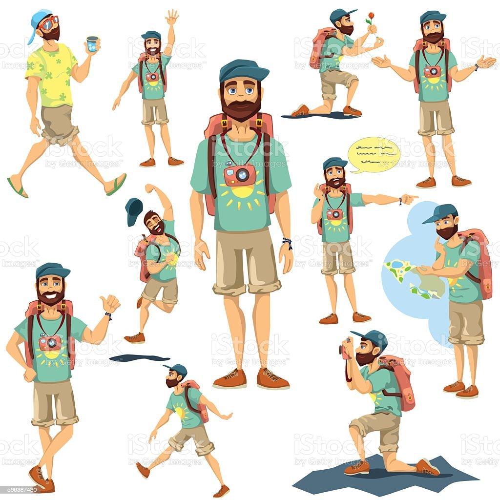 Tourist character vector  illustration set vector art illustration