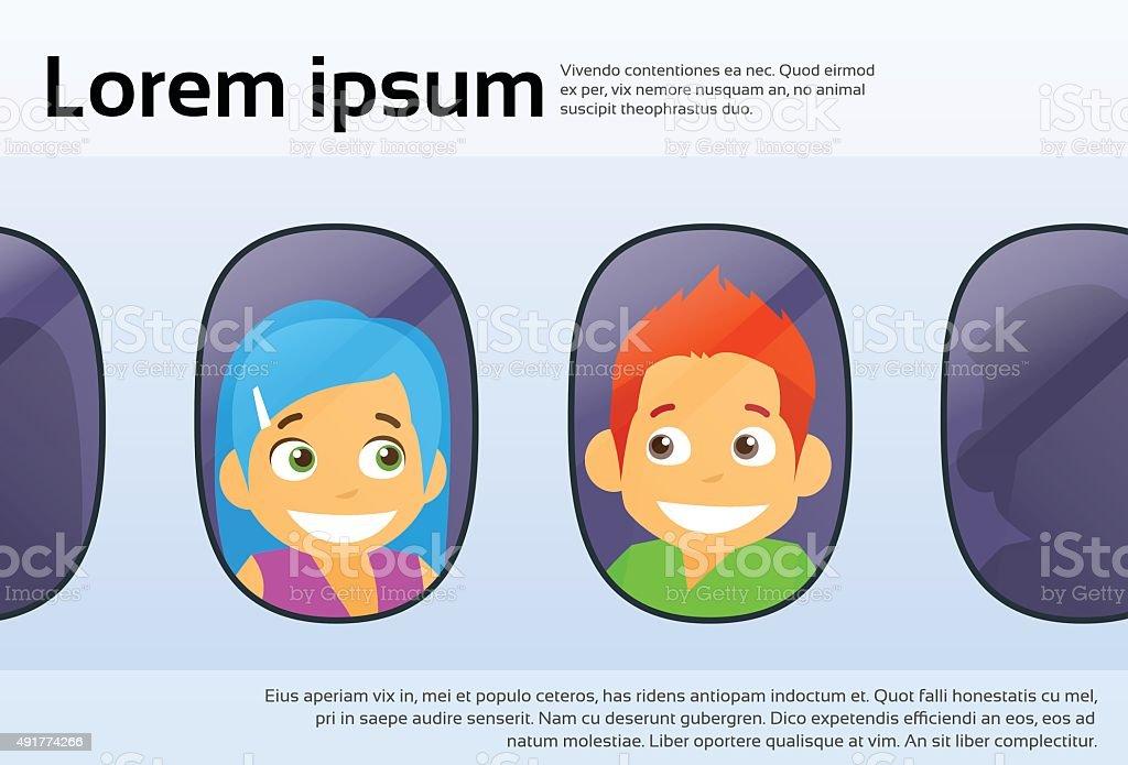 Tourist Couple Airplane Window Cartoon People Children Travel Flight Royalty Free
