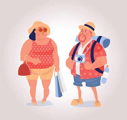 tourist couple vector illustration