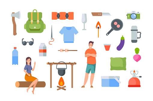 Tourist equipment and hiking accessories on white background