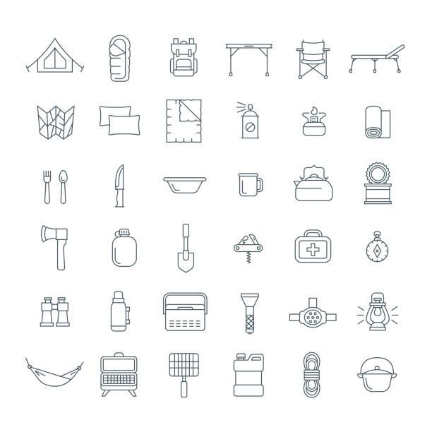 touristen-ausrüstung für wandern umriss icons set - zeltausrüstung stock-grafiken, -clipart, -cartoons und -symbole