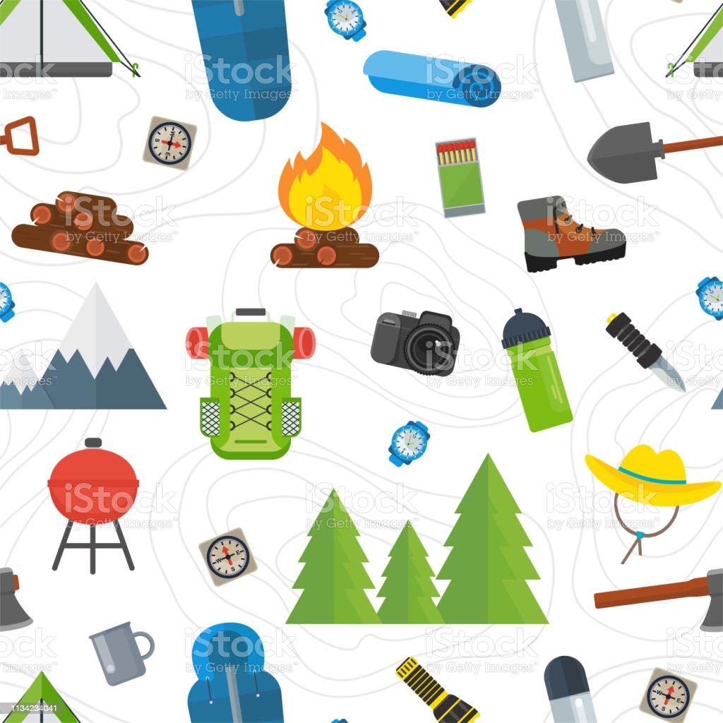 Seamless pattern with tourist equipment. Mountain hike camp tools....