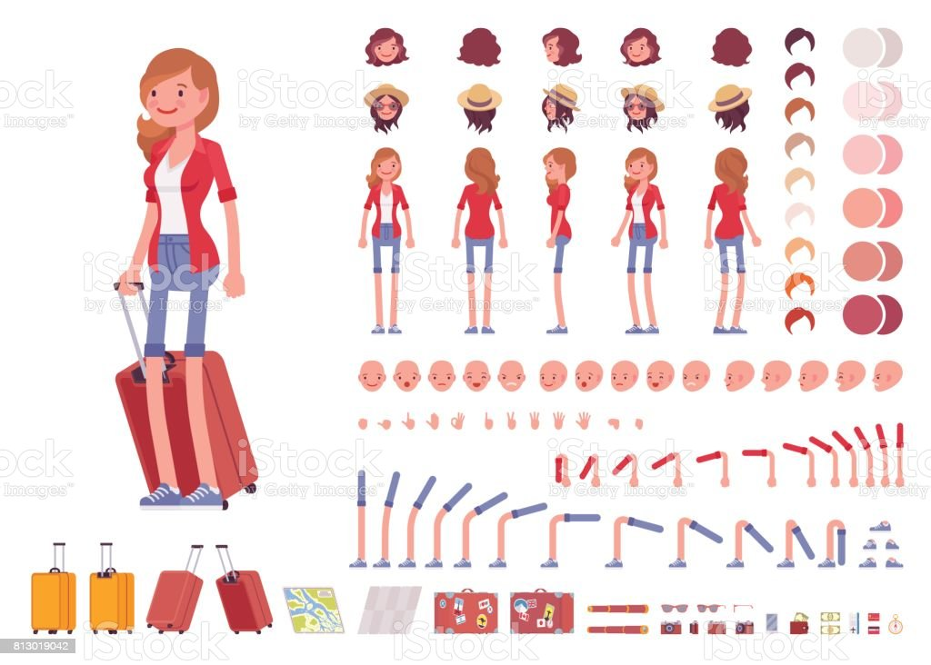 Tourist female character creation set vector art illustration