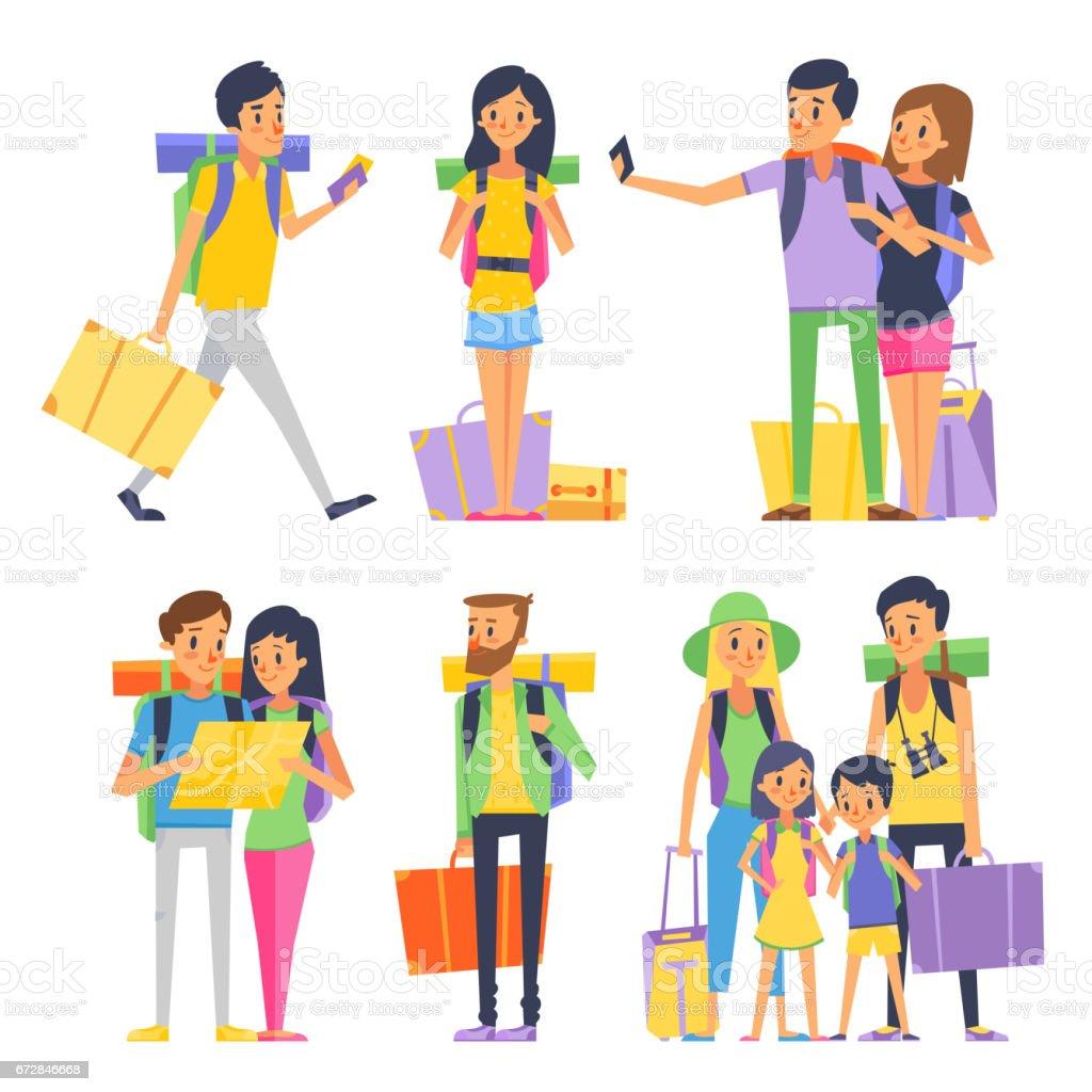 Grupo turístico de gente feliz va a de vacaciones. Pareja o en familia con niños en el viaje. Ilustración de vector - ilustración de arte vectorial