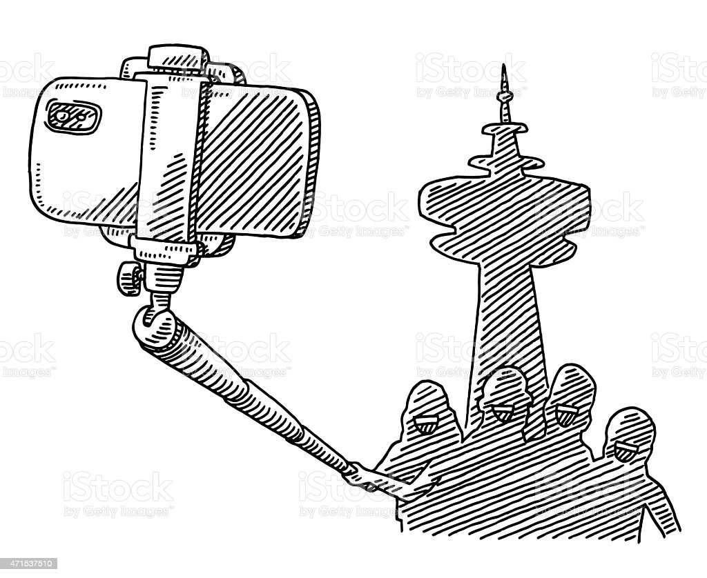 tourist group taking a photo selfie stick drawing stock